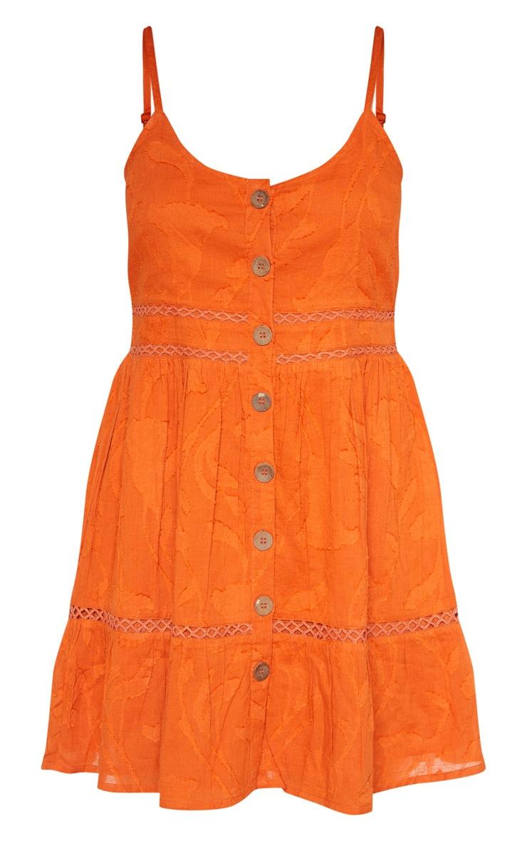 Rust Wooden Button Front Cami Dress 3