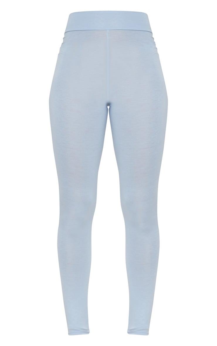 Powder Blue High Waisted Jersey Leggings 3