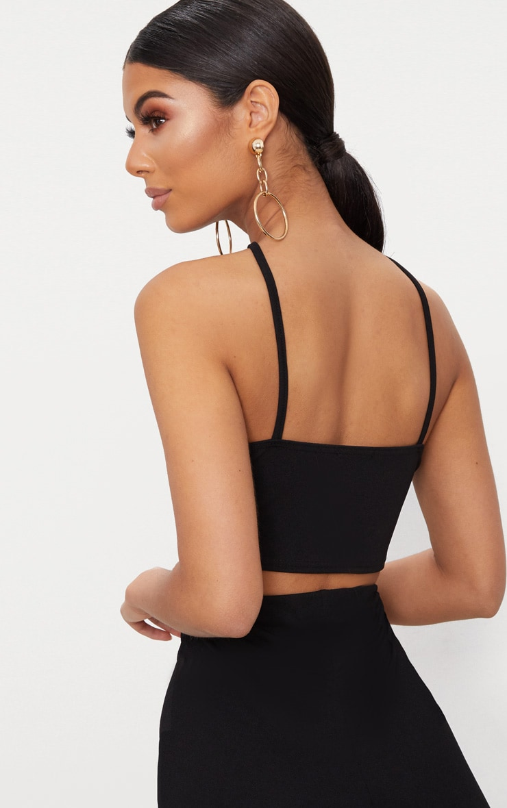 Black Crepe Lace Up Detail High Neck Crop Top 2