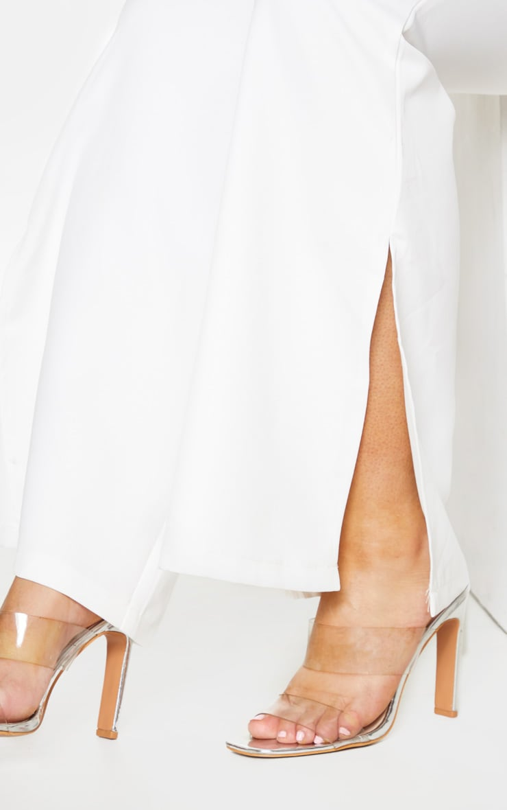 Plus White Split Detail Flared Trousers 5