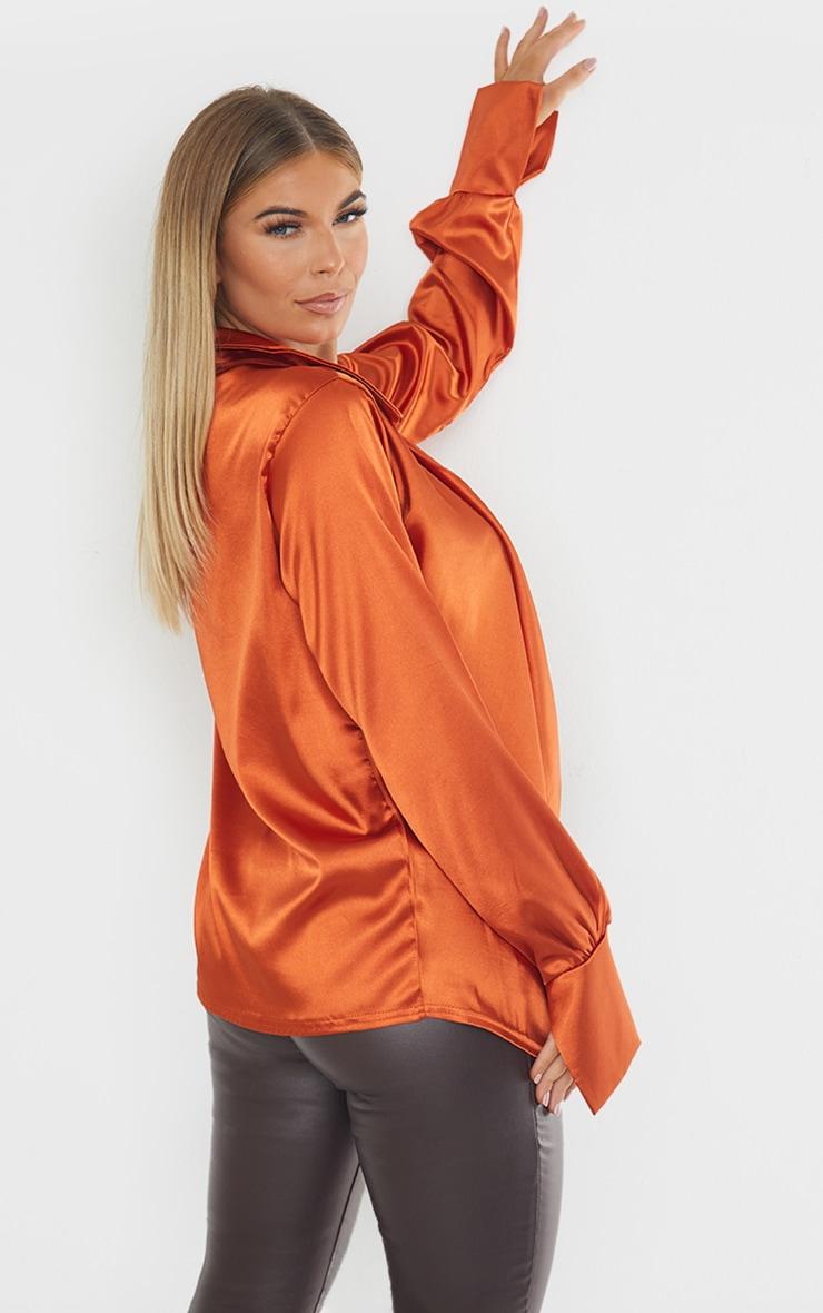 Rust Extreme Cowl Long Line Satin Shirt 2