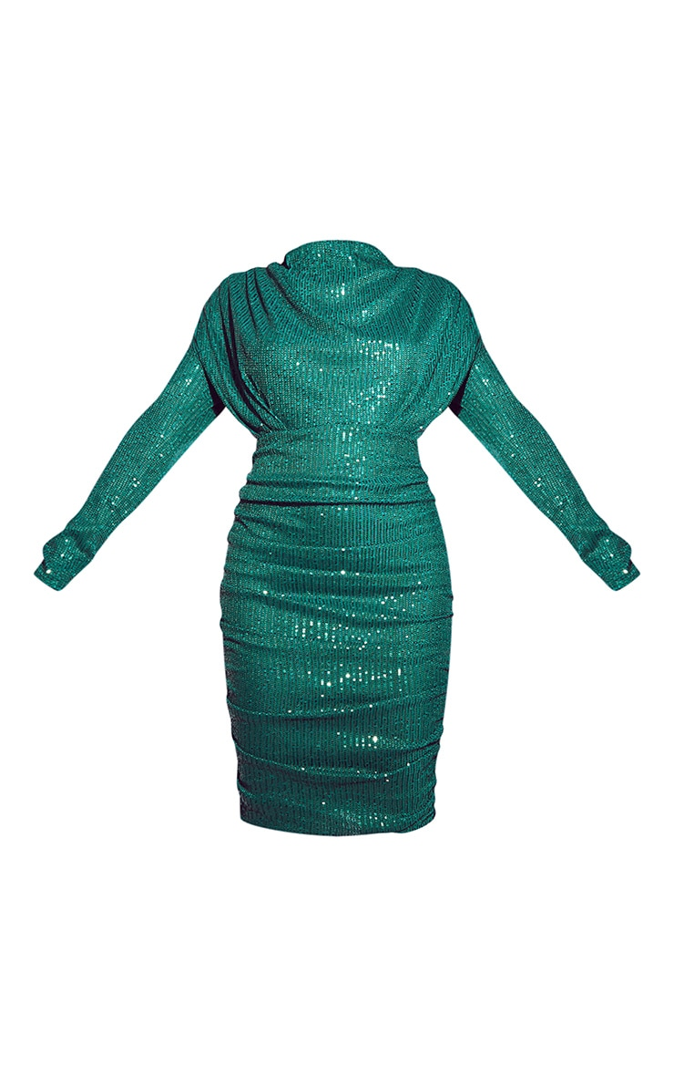 Emerald Green Sequin Shoulder Pad Ruched Front Midi Dress 5