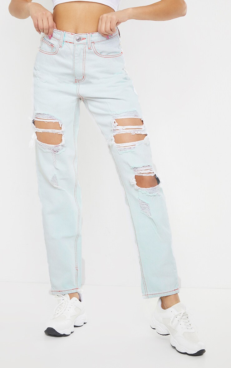 PRETTYLITTLETHING Light Bleach Wash Distressed Mom Jeans 2