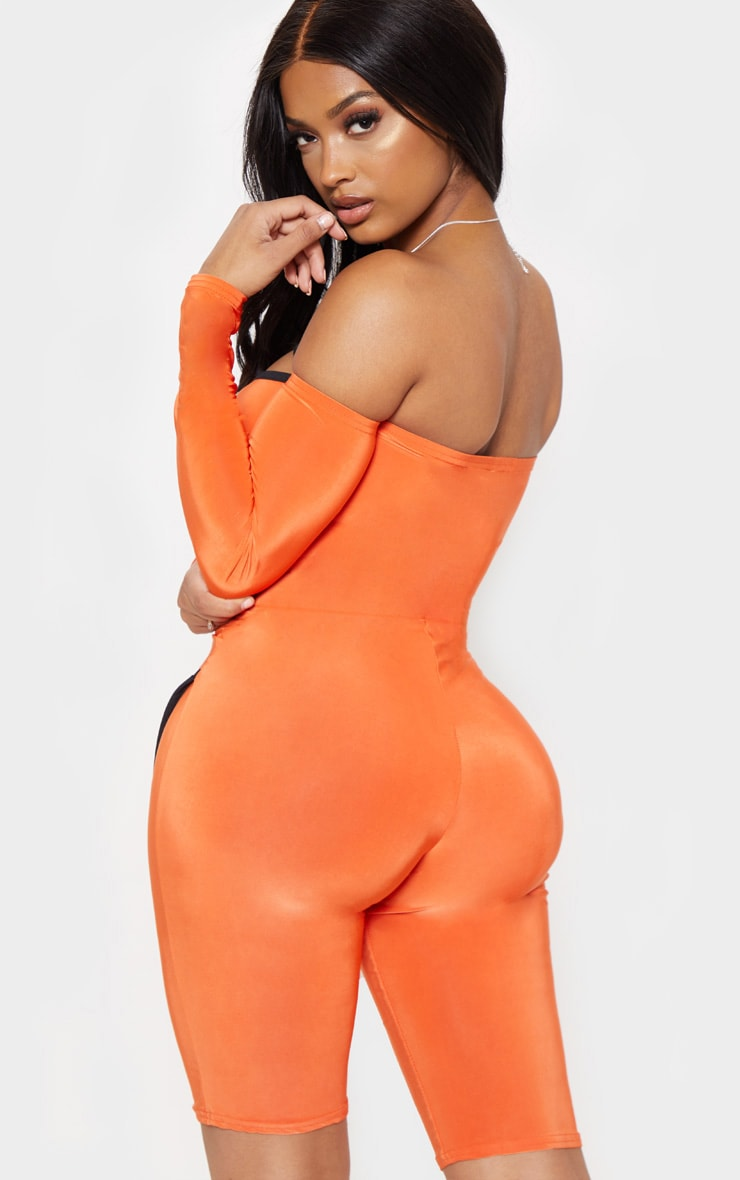 Shape Orange Binding Detail Bardot Unitard 2