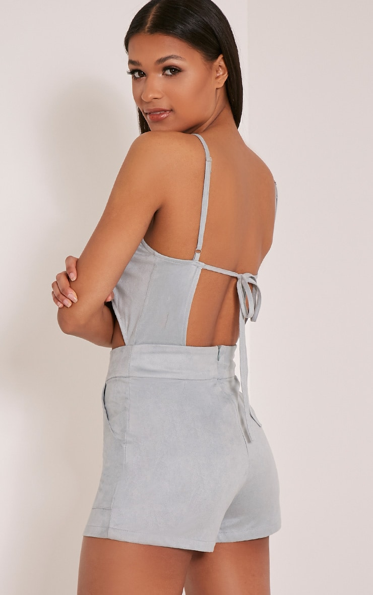 Adia Dusty Blue Suede Cut Out Playsuit 5
