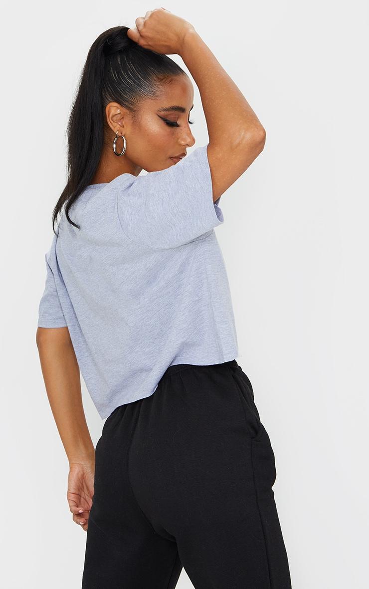 Grey More Love Slogan Crop T Shirt 2