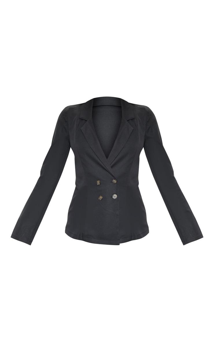 Black Button Detail Woven Blazer 3
