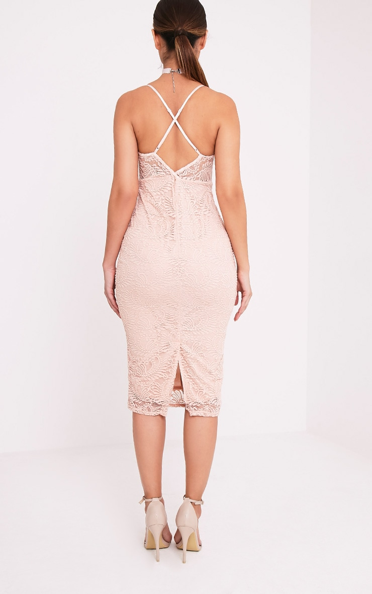 Mikalia Nude Strappy Lace Midi Dress 2