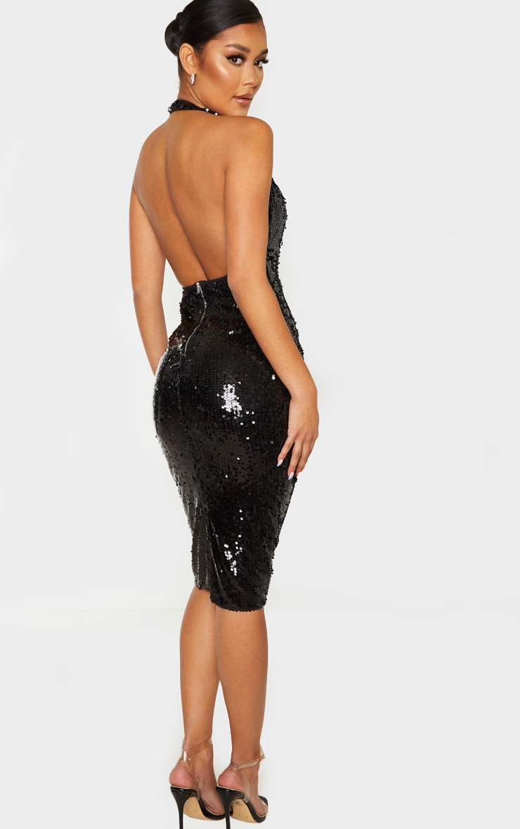 Black Sequin Midi Dress 1