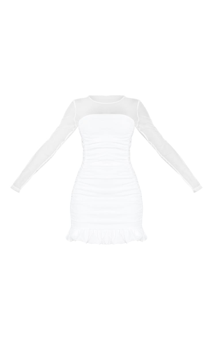 White Mesh Insert Ruched Frill Hem Bodycon Dress 3