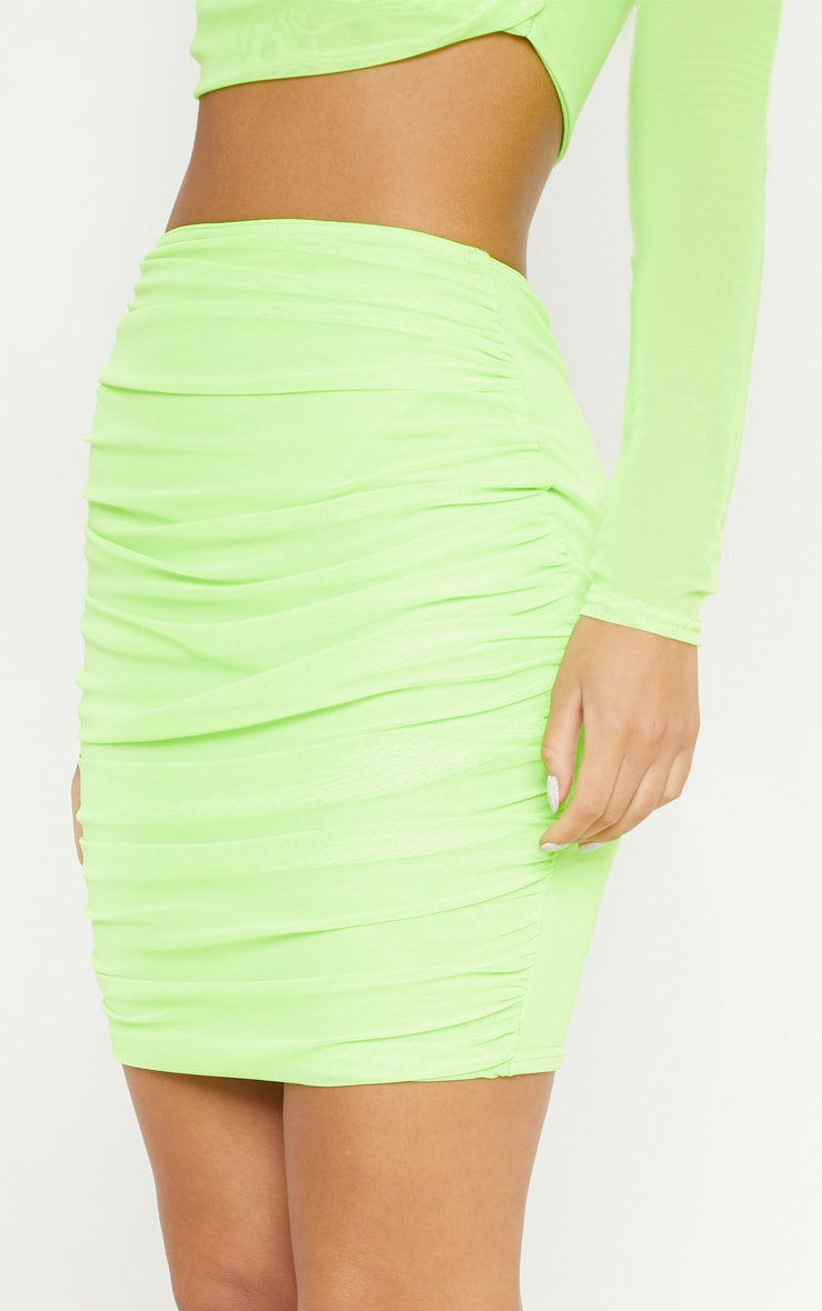 Neon Green Mesh Ruched Skirt 6