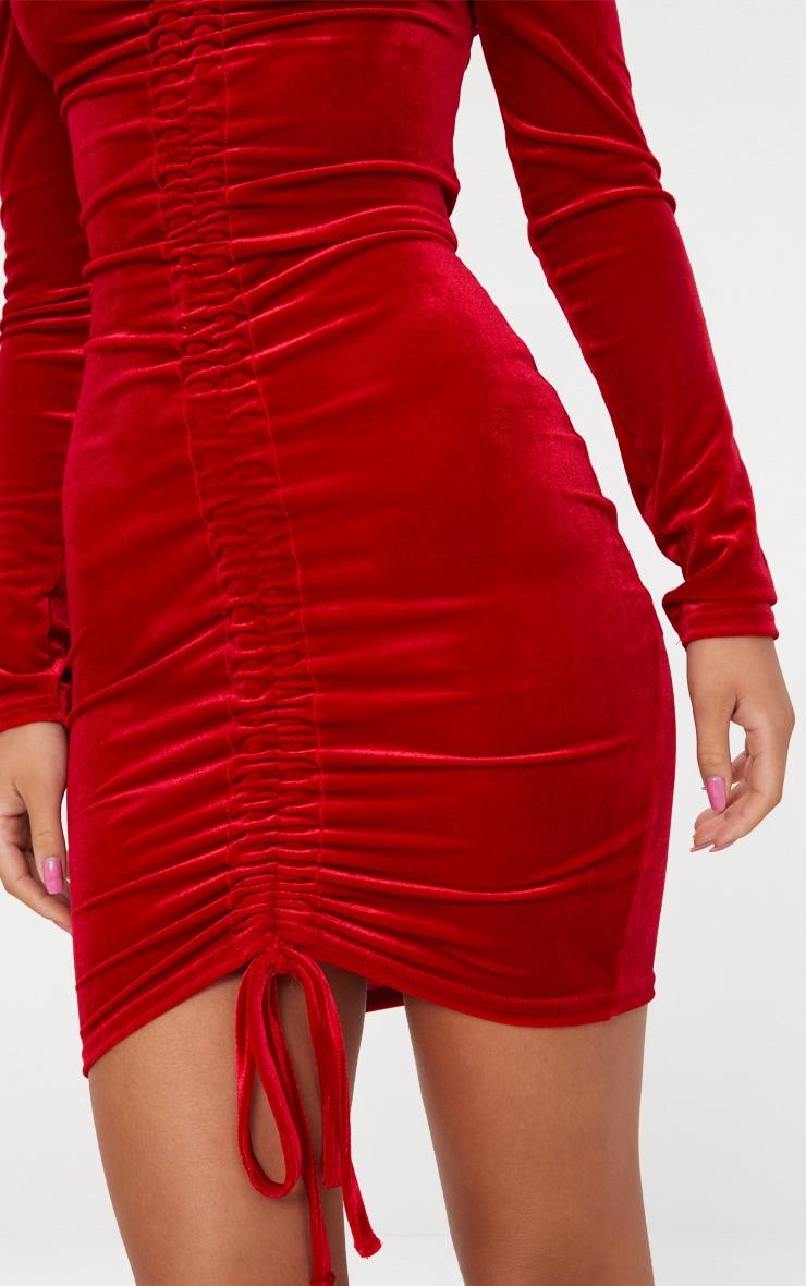 Red Velvet Bardot Long Sleeve Ruched Bodycon Dress 5