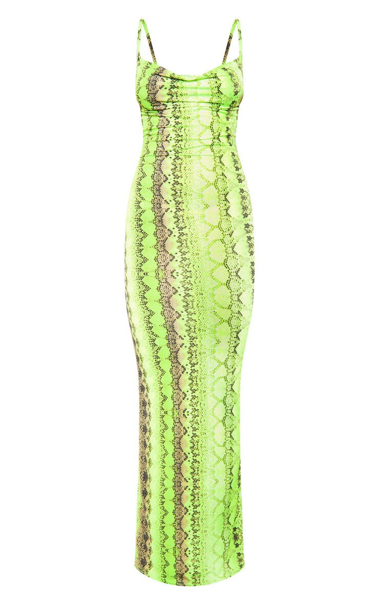 Neon Lime Cowl Snake Print Maxi Dress 3