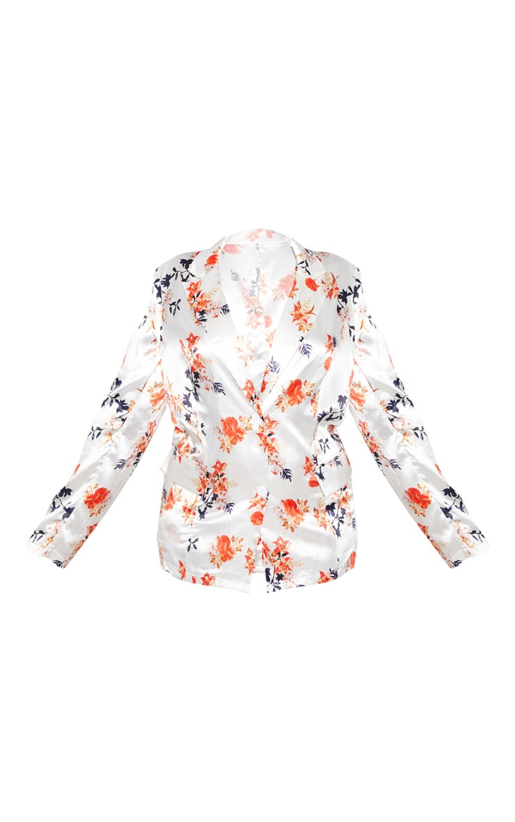 Plus White Floral Printed Satin Blazer  3