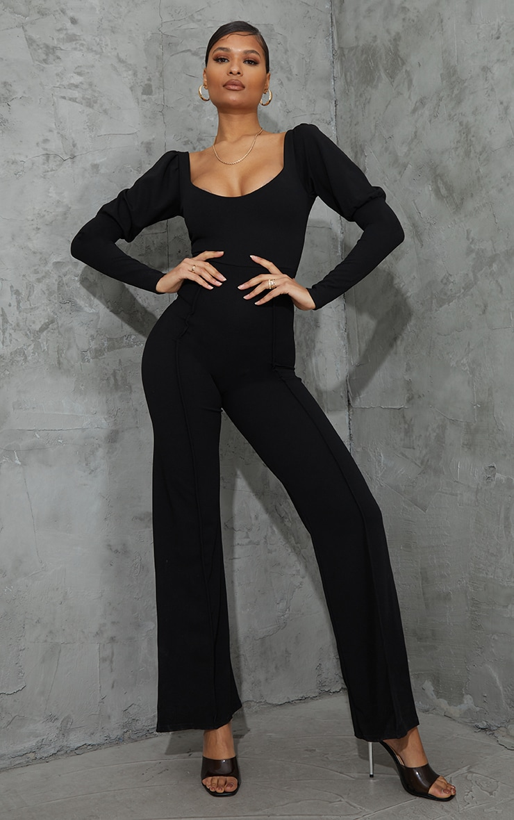 Black Lace Up Back Puff Sleeve Jumpsuit 2