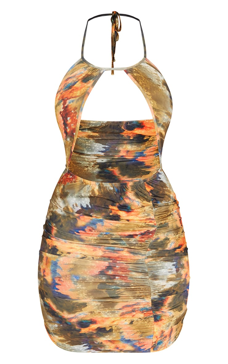 Multi Abstract Print Slinky Halterneck Bust Detail Ruched Skirt Bodycon Dress 5