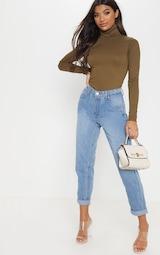 c61266bd80d Rheta Khaki Ribbed Polo Neck Top | Knitwear | PrettyLittleThing
