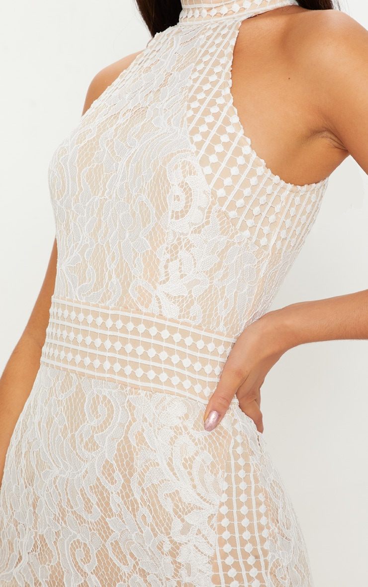 White Lace Crochet High Neck Midi Dress 4