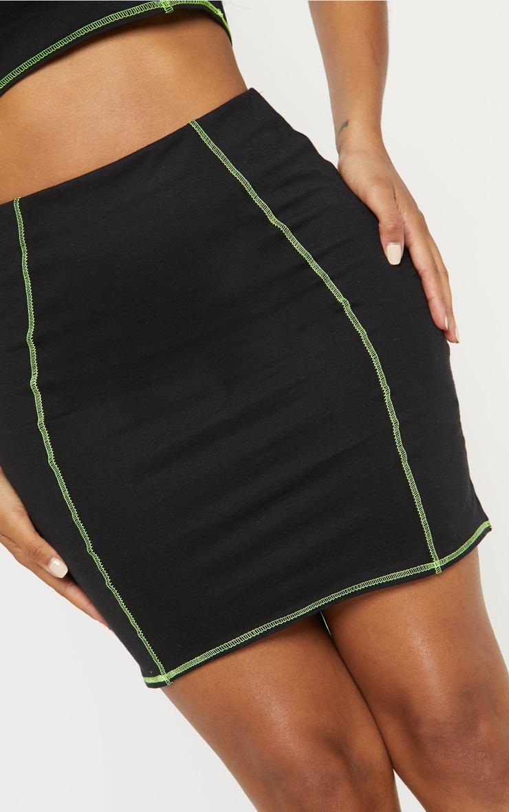 Shape Black Neon Stitch Mini Skirt  6
