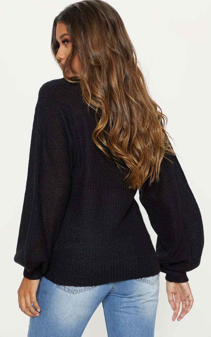 Black Balloon Sleeve Ribbed Knitted Jumper  2
