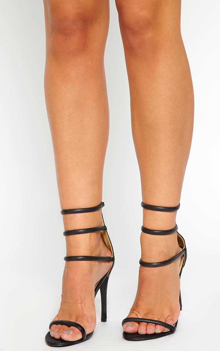 Nadine Black Strappy Heeled Sandals 1