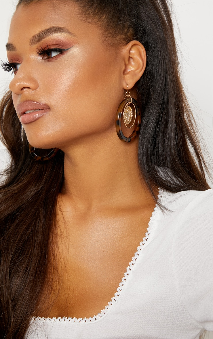 Tortoiseshell Coin Hoop Drop Earrings 2