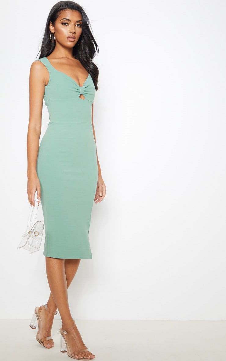 Sage Green Knot Front Plunge Bodycon Dress 4
