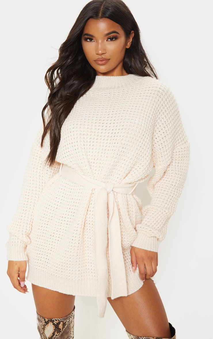 CREAM SOFT TOUCH BELTED KNITTED JUMPER DRESS