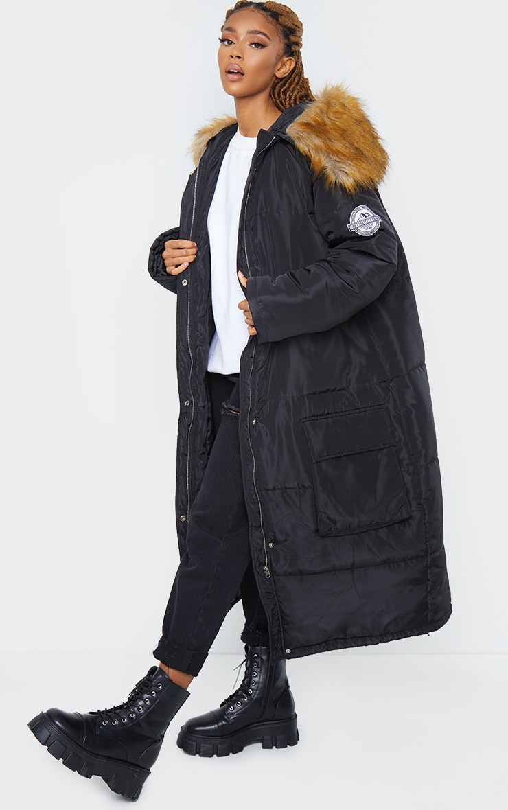 PRETTYLITTLETHING Black Maxi Hooded Parka Jacket 1