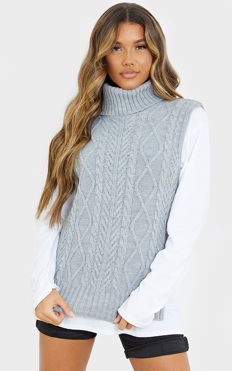 Light Grey Longline Sleeveless Cable Roll Neck Sweater  3