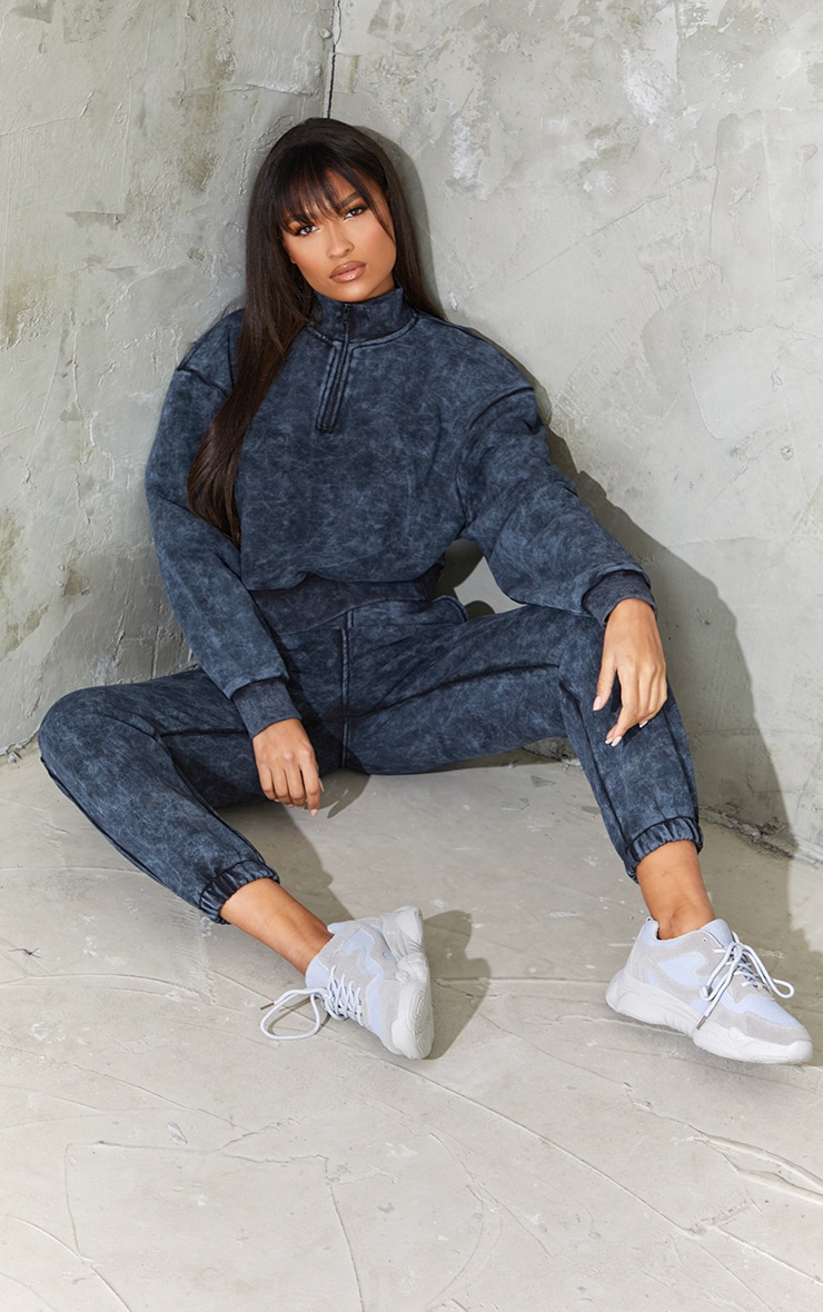 Charcoal Grey Acid Wash Zip Funnel Neck Cropped Sweater 3