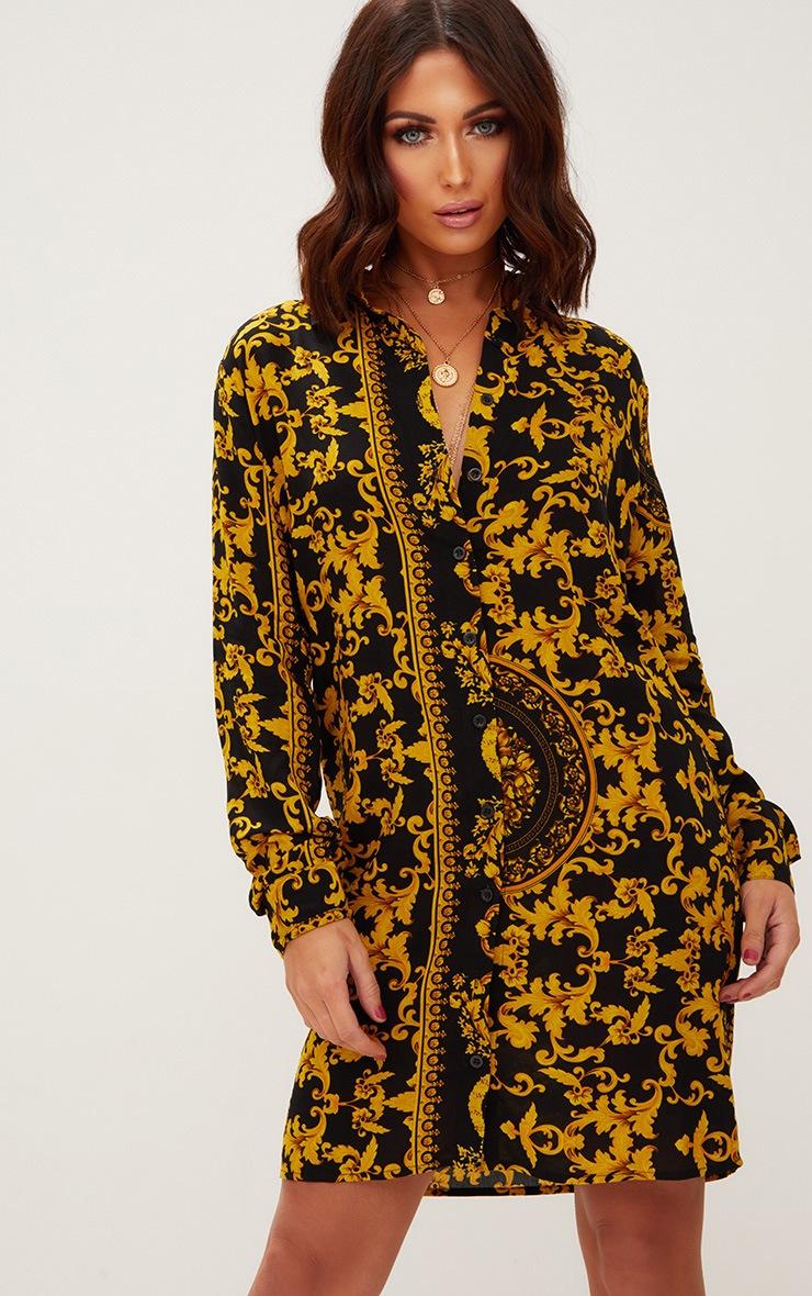 Black Chain Print Shirt Dress 4