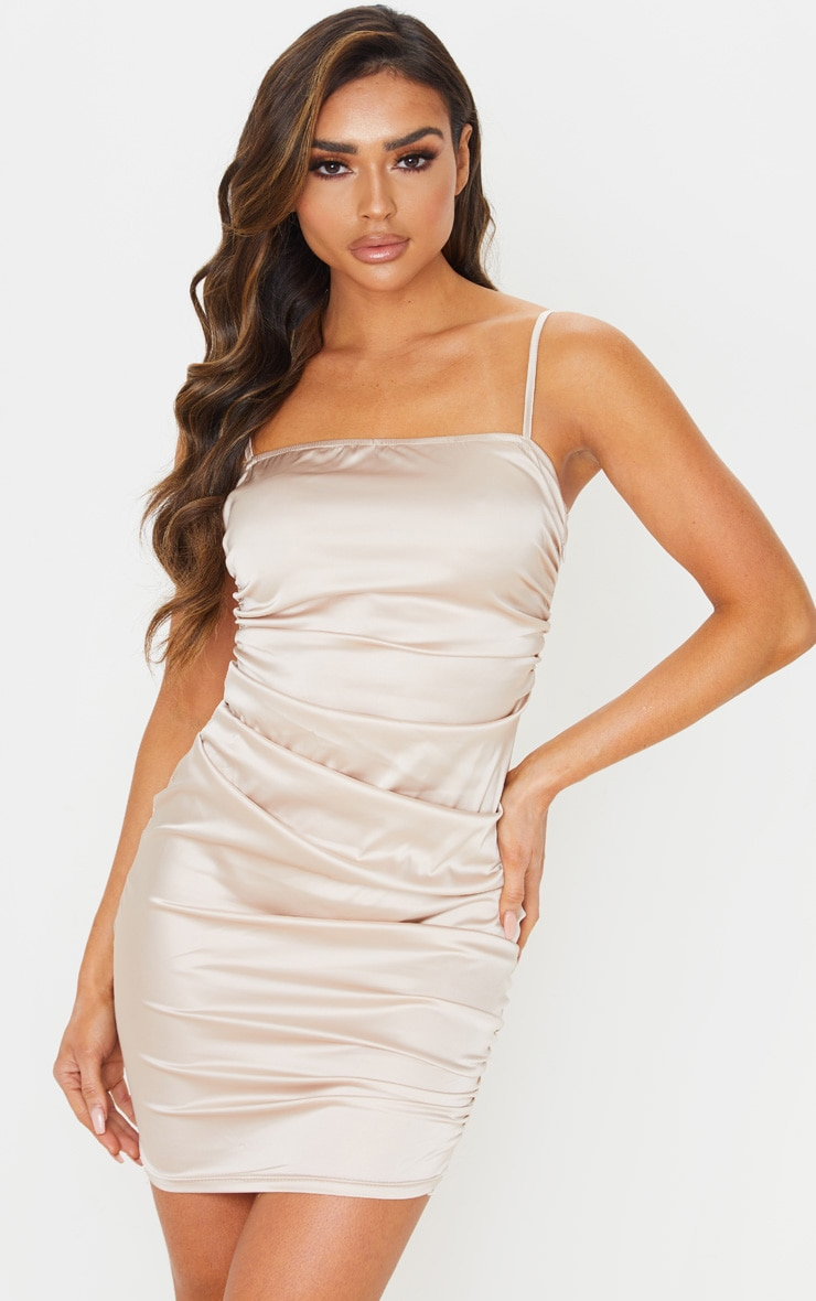 Nude Ruched Strappy Satin Bodycon Dress 1