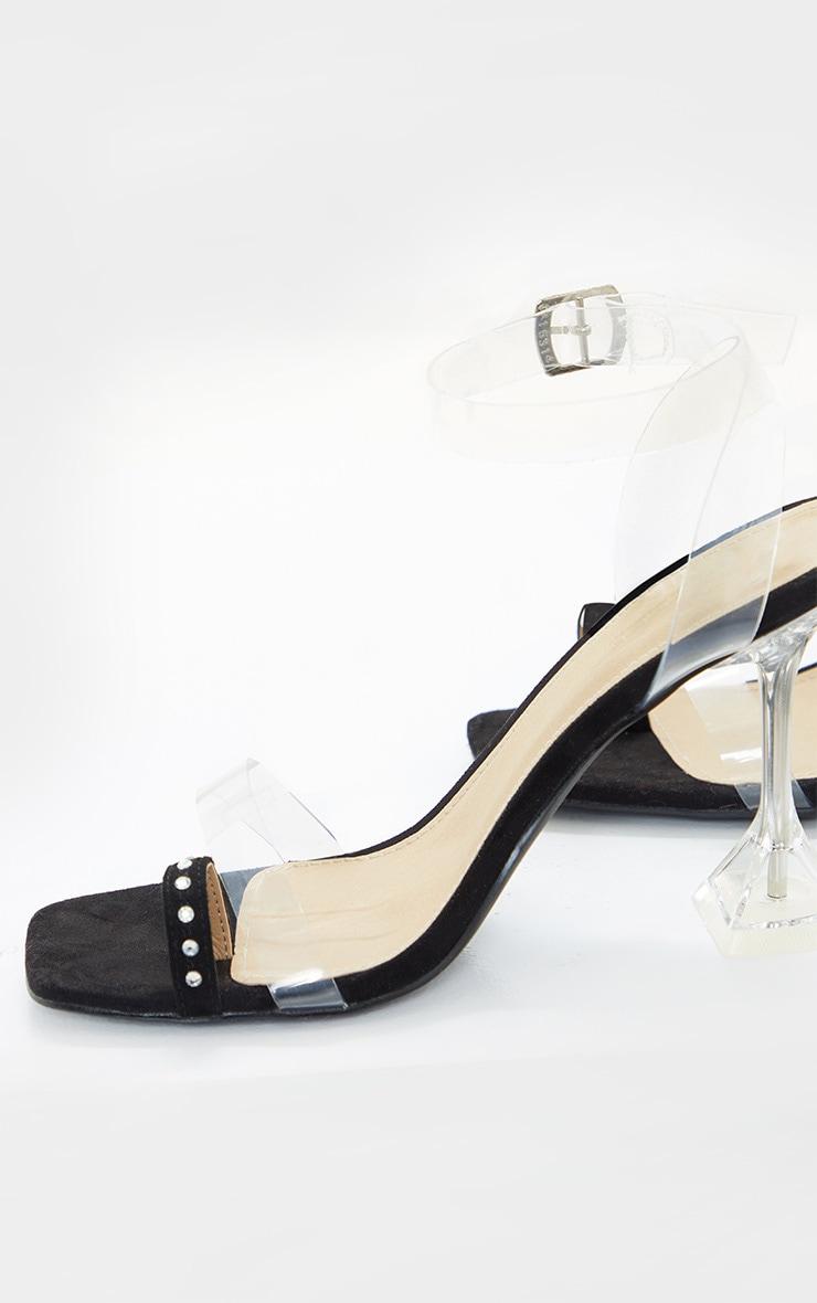 Black Diamante Toe Loop Cake Stand Heeled Sandal 4