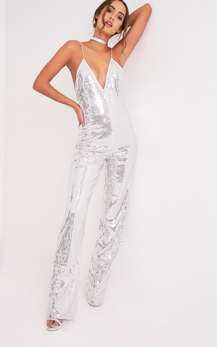 Auris Silver Sequin Plunge Wide Leg Jumpsuit - Jumpsuits ...