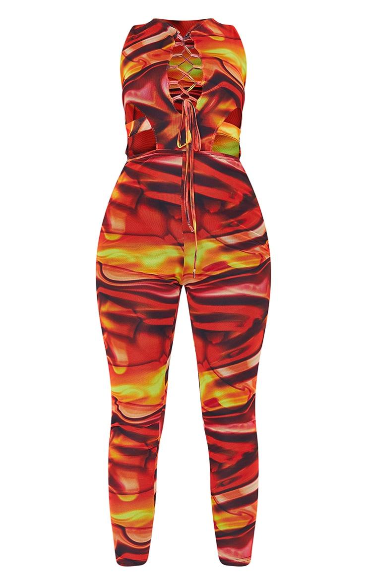 Orange Marble Print Mesh Lace Up Jumpsuit 5