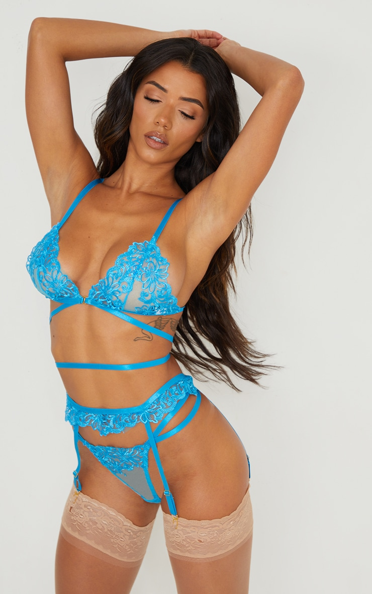 Bright Blue Floral Embroidered Lace Strapping Detail 3 Piece Lingerie Set 1