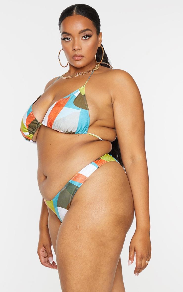 Plus Multi Abstract Printed Triangle Bikini Bottoms 2