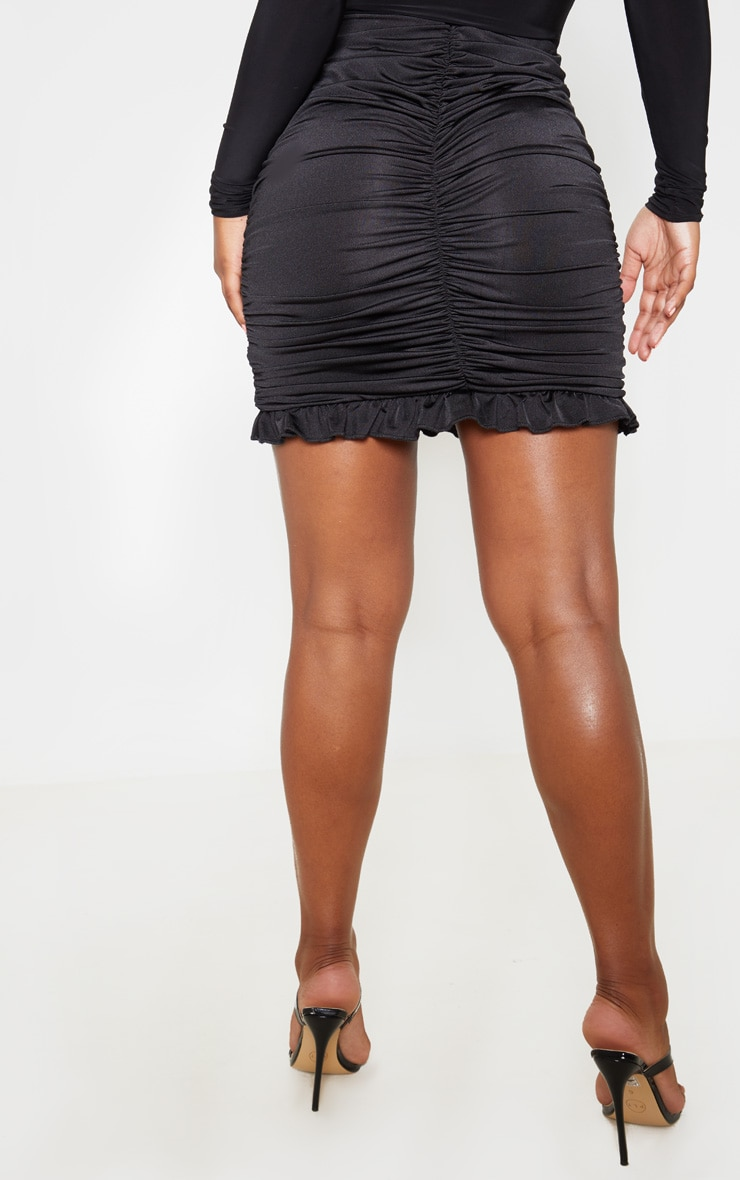 Black Slinky Ruched Frill Hem Mini Skirt 4