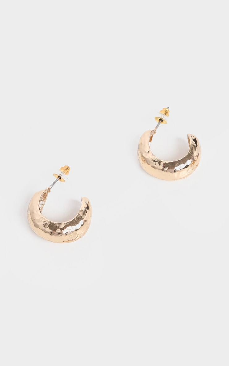 Gold Hammered Mini Hoop Earrings 1