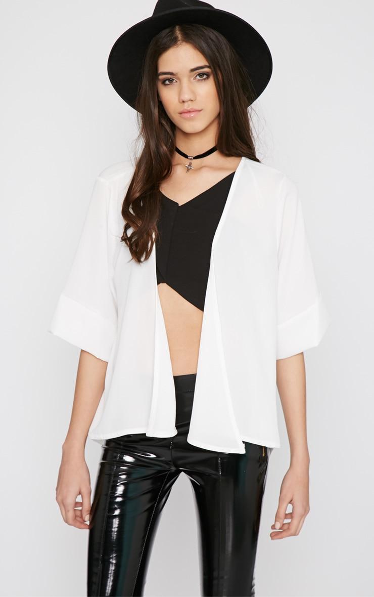 Raina Cream Sheer Cropped Kimono 3