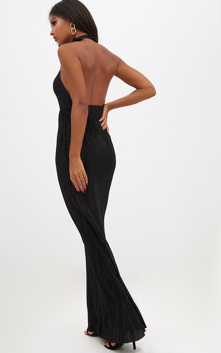 Black Pleated High Neck Maxi Dress 2