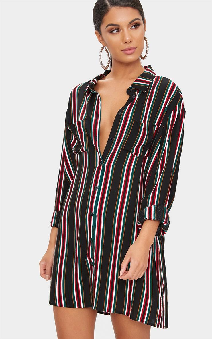 Red Stripe Shirt Dress 1
