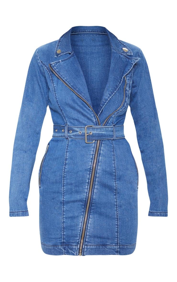 Robe en jean bleu foncé à zip et ceinture 3