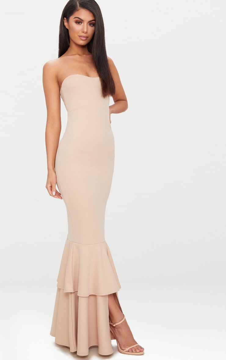 Nude Bandeau Tiered Fishtail Maxi Dress 4