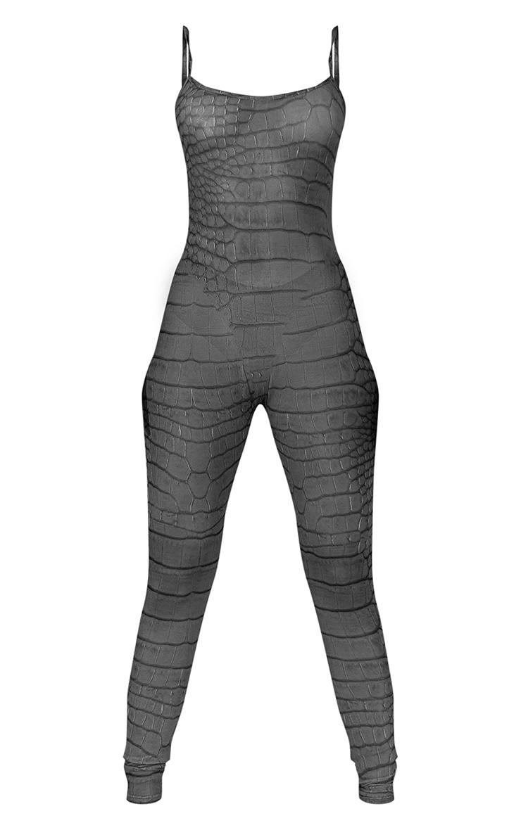 Grey Croc Printed Mesh Jumpsuit 5
