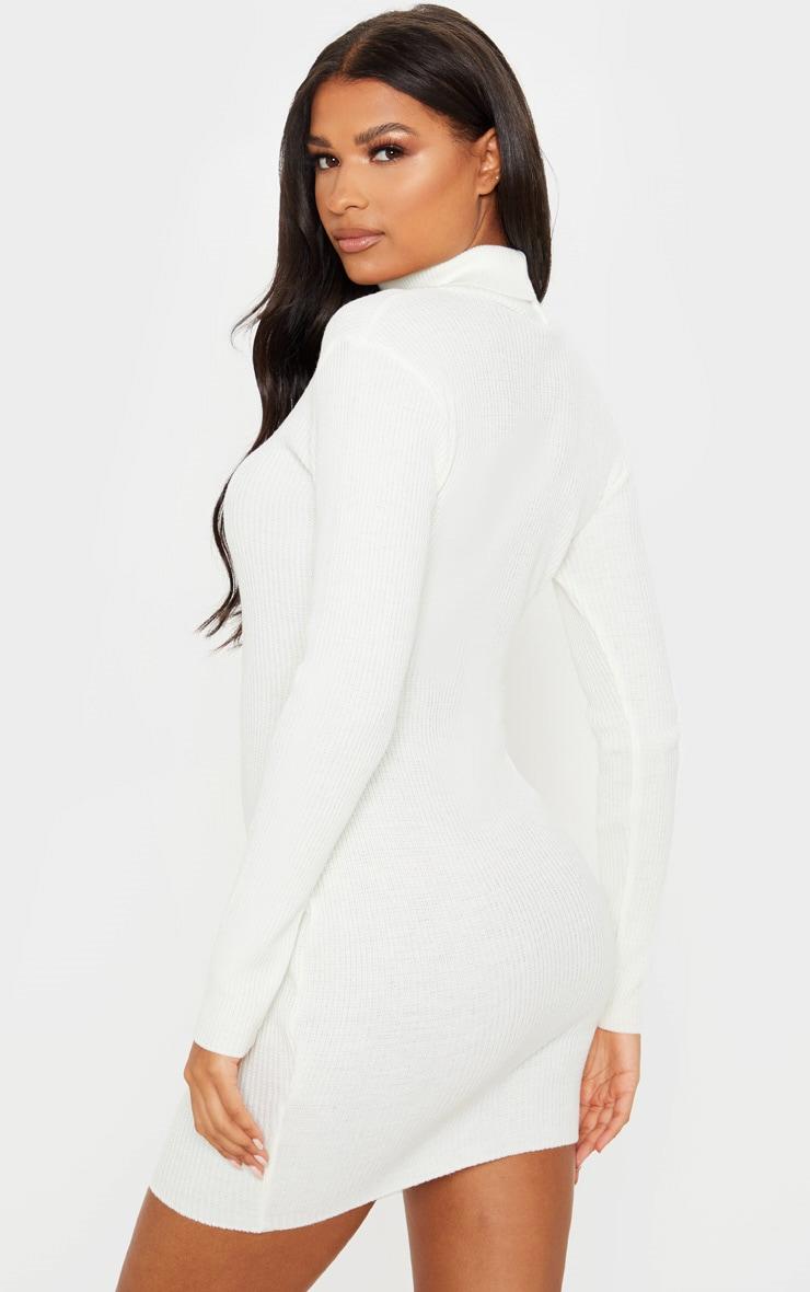 PRETTYLITTLETHING Cream Rib Knitted Bodycon Dress 2