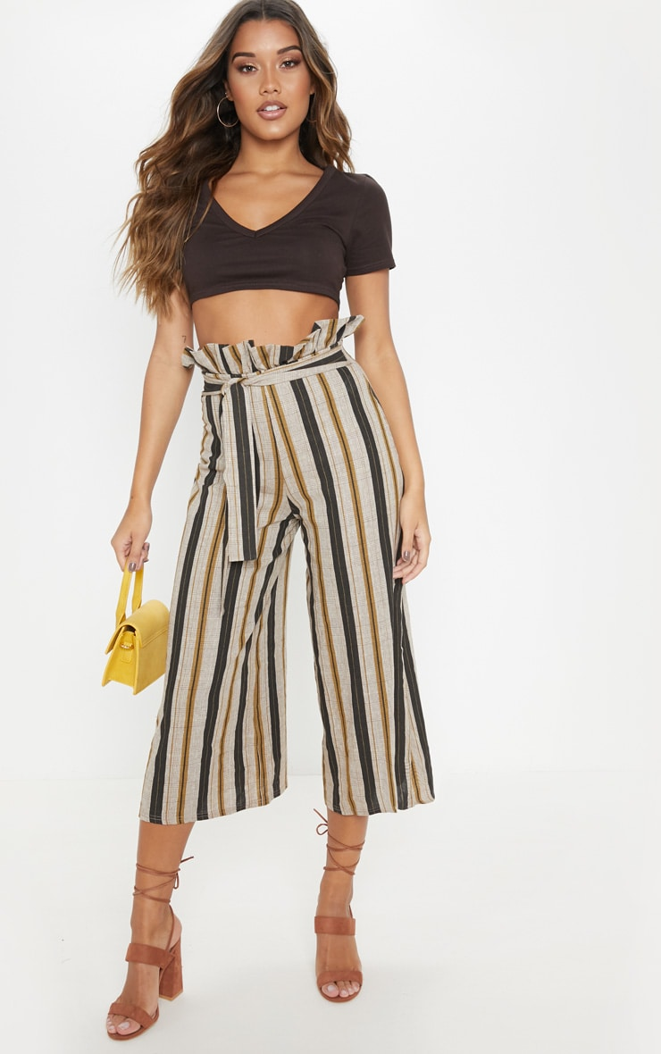 Black Printed Tie Waist Woven Culotte 1