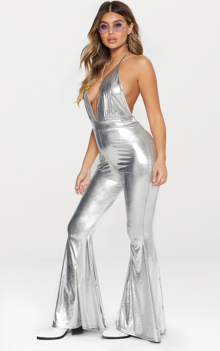Silver Metallic Plunge Jumpsuit 3