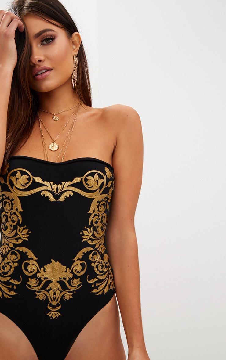 Gold Baroque Print Bandeau Thong Bodysuit 6